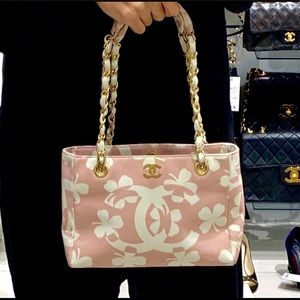 RARE Chanel Canvas Pink Four Leaf Clover Chain Bag